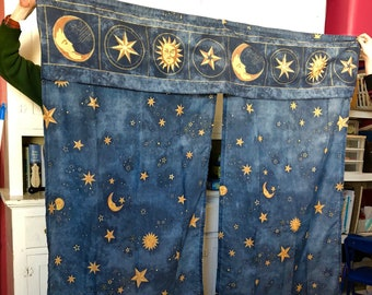 Vintage 90s Celestial Sun Moon Stars Springs Shower Curtain Fabric Waterproof Mystic Zodiac Massage Therapy Room Starry Night Sky Home Decor