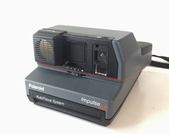 Vintage 80s Polaroid Impulse AF 600 film Instant Camera with pop up flash working retro gift idea 70s home decor comes with carry case bag