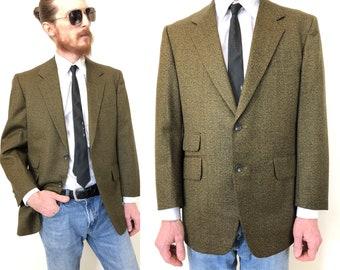 cc35b3a5aed Vintage 50s 60s dark green mens blazer sport coat suit jacket size 40 small  S or medium M retro rockabilly mid century Crown Juilliard mod