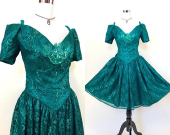 e00410a83f9 Vintage 80s 90s green Gunne Sax Prom Dress womens size Medium M Med off  shoulder sequin metallic lace cocktail costume party with bow