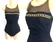 Vintage 90s womens SWIMSUIT black and gold embroidered chain mesh swim bathing suit plus size XL extra large cut out 16 18 mod slimming