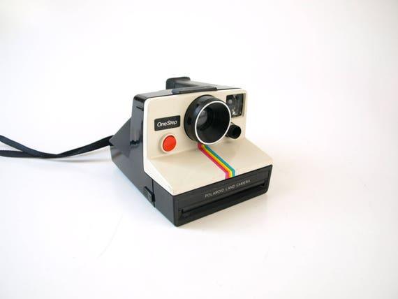 Vintage 70s polaroid instant film camera retro photography rainbow striped white iconic instagram camera home decor prop