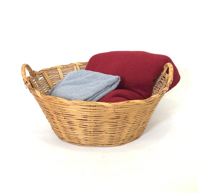 6dc1763db1b7 Large vintage woven wicker wood laundry basket handles farmhouse style  hippie boho bohemian home decor jungalow storage bin country french