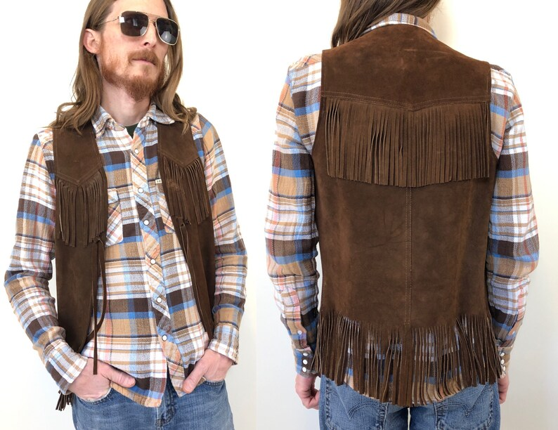 3268f2e123e Vintage 60s 70s brown suede leather hippie vest with fringe