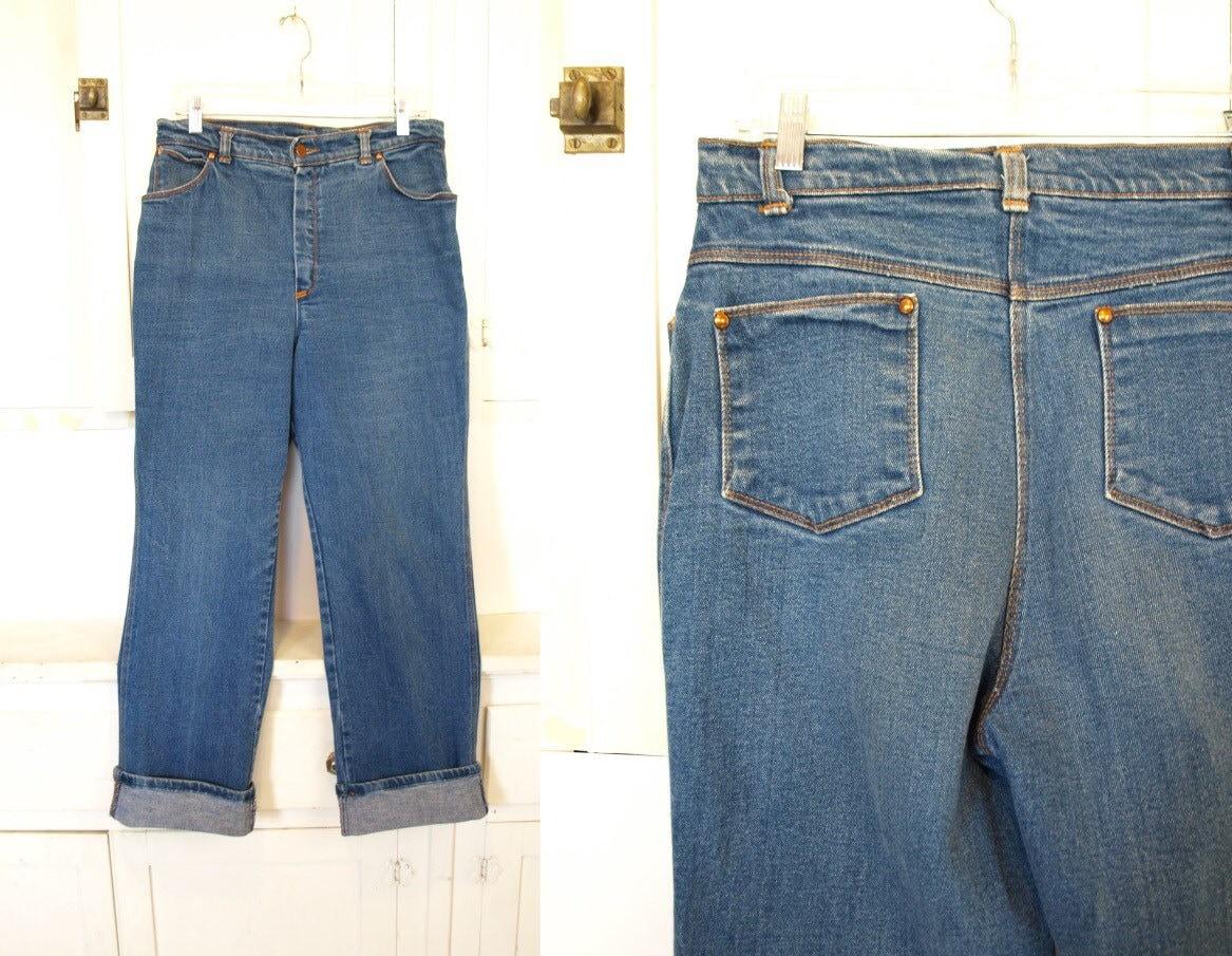 4cf6aa21a Vintage 70s blue jeans women's Sears brand high waisted worn in Medium M  Large W 31 L 30 slouchy retro boyfriend jeans hi waist denim pants