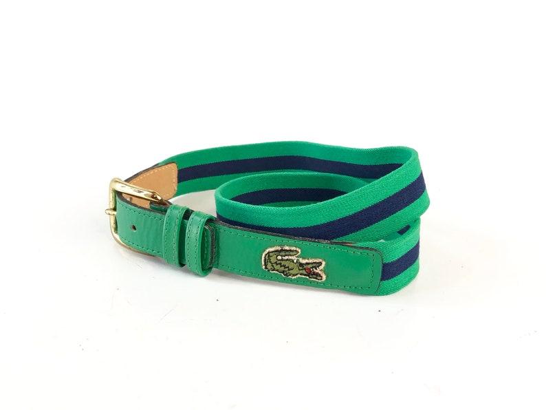 3877f2ba9c0b5 Vintage 70s 80s Izod Lacoste belt green navy blue embroidered alligator  designer stretch buckle women's men's waist 30 31 32 small S retro