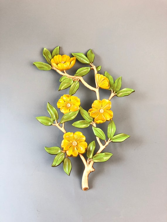 Vintage 60s 70s Magnolia Tree Yellow Flower Branches Wall Etsy