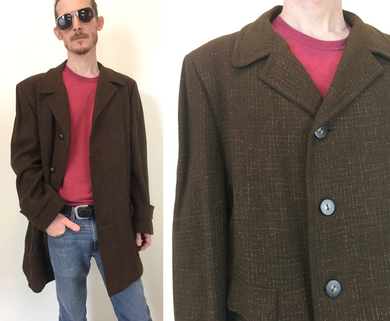 f9538db450b Vintage men's brown wool Coat jacket with red plaid liner mid century  modern madmen style size Large L or Extra Large XL warm winter