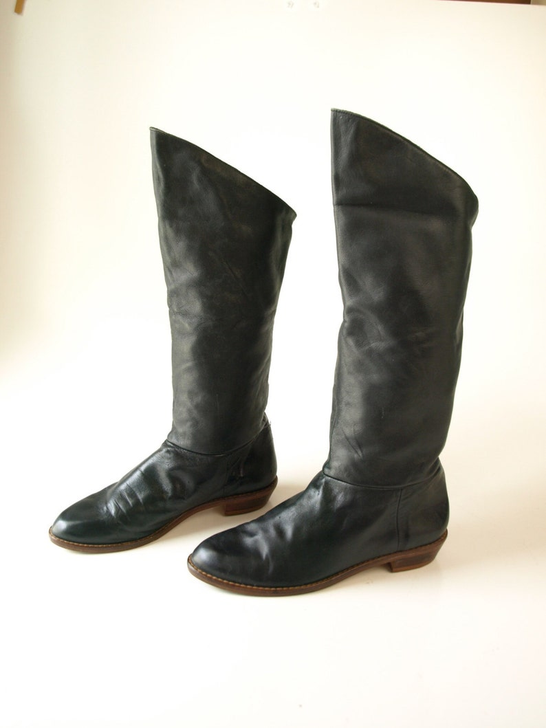 de85695916226 Vintage 80s black leather tall cuff cuffed riding pirate boots women's size  5 5.5 or 6 girls 3 or 4 mid calf star wars costume party shoes