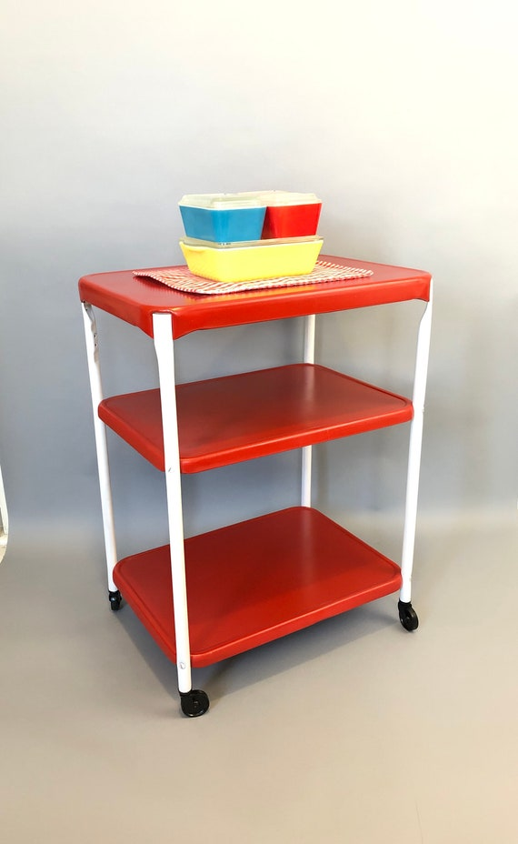Vintage 50s red white rolling metal kitchen cart storage shelf bar utility  mod retro home decor mid century modern table stand cosco