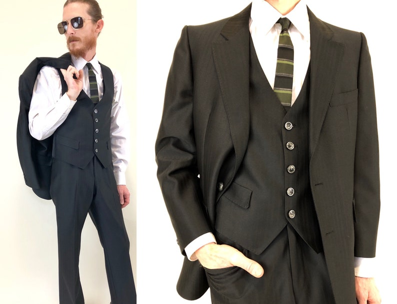 42224deeded Vintage 60s 70s men's black 3 pc suit three piece | Etsy