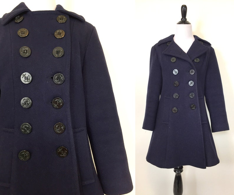 1968698cb02 Vintage 60s mod navy blue Pea Coat peacoat with red liner