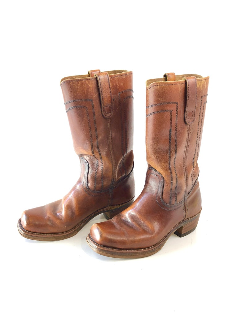 67470d4321f Vintage chestnut brown leather Campus western chunky Tall boots men's size  8 women's size 10 square toe shoes cowboy 60s 70s fashion heels