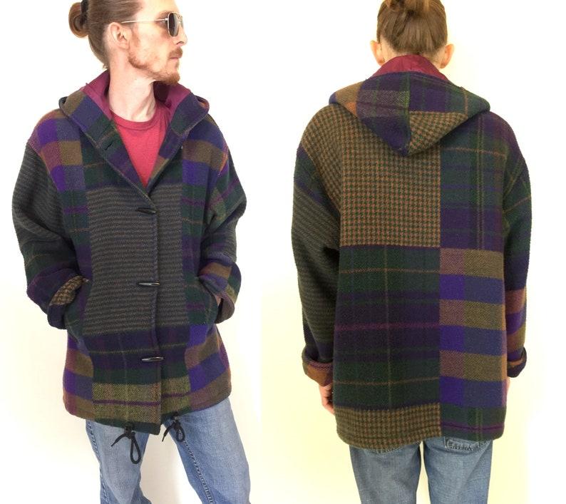 f5d81fb2349 Vintage 80s 90s slouchy hooded Coat jacket purple green orange