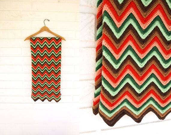 Vintage 70er Jahre Hand häkeln afghanischen Decke Zick Zack | Etsy