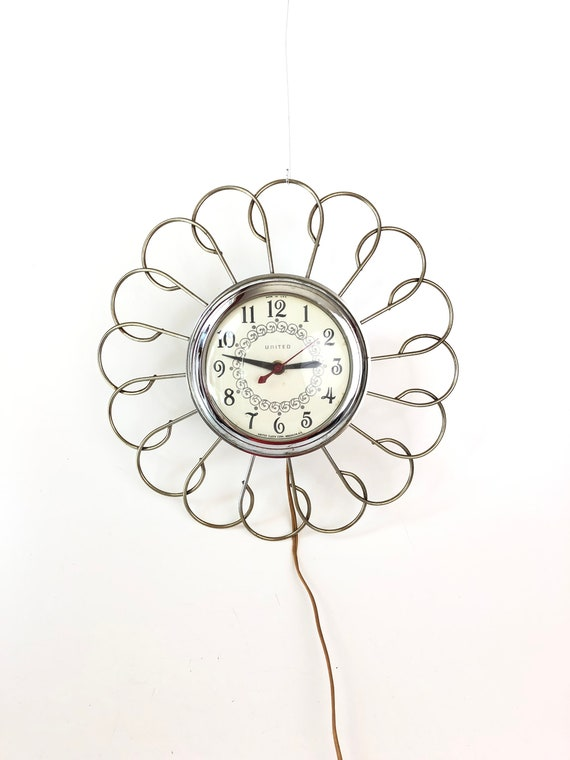 vintage 60s united wall clock electric flower power retro home etsy Olive Green Kitchen Color image