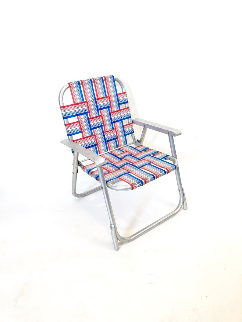 Excellent Vintage Childrens Kids Size Folding Lawn Chair Webbed Aluminum Frame Red White And Blue Mid Century Modern Retro Patio Camping Portable Seat Inzonedesignstudio Interior Chair Design Inzonedesignstudiocom