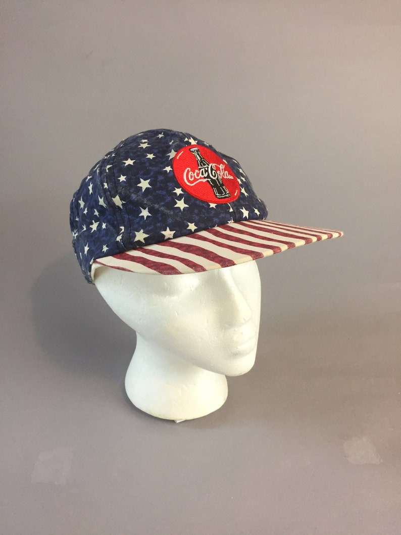 8a0d738fc Vintage 90s Coca Cola Red White and Blue baseball hat cap mens womens stars  and stripes snapback adjustable Americana glow in the dark