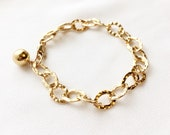 Gold Hammered Oval Link Bracelet, Oval Chain Bracelet, Chain Bracelet, Everyday Jewelry, Minimalistic Jewelry