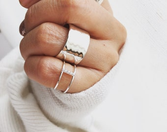 Band Rings silver Big Statement rings Stoneless ring Oversized rings silver wide Band ring wrapped around rings Extra wide bold ring