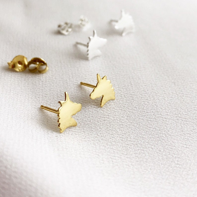 Unicorn Earrings Unicorn Stud Earrings Unicorn Jewelry image 0
