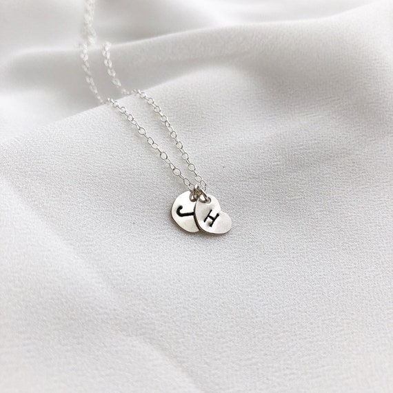 Two Hearts Initial Necklace