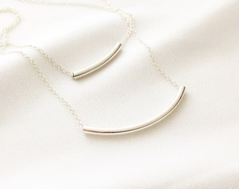 Double Bar Necklace | Bar Layered Necklace | Sterling Silver Curved Bar Layered Necklace | Modern Jewelry | Everyday Wear