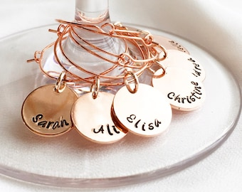 Rose Gold Wine Charm, Custom Wine Charm,Personalized Wine Glass Charm, Rose Gold Custom Wine Glass Charm, Bridal Party or Hostess Gift