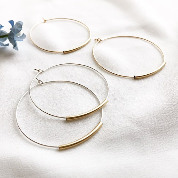 Pomina Wire wrapped Two Tone Circle Hoop Earrings