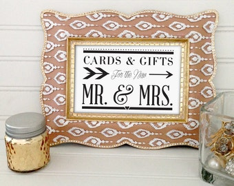 Printable wedding cards and gifts sign, 5x7 elegant wedding sign, wedding decor, instant download