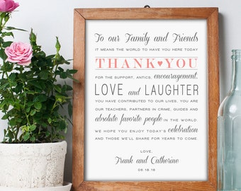 Printable Thank You Wedding Sign, Reception Sign, Instant Download