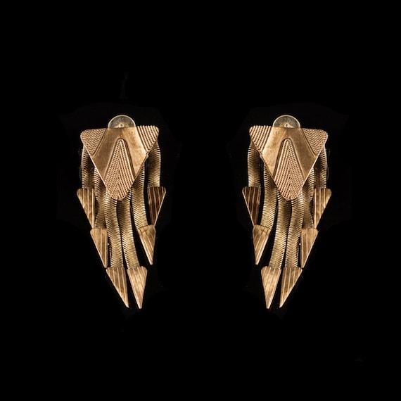 Art Deco Snake Chain Tassel Earrings / Clip on / S