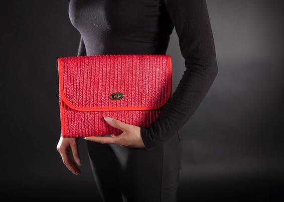 1970's Red Straw Shoulder Bag