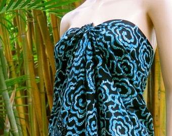Blue and Black Sarong, Wrap, Pareo
