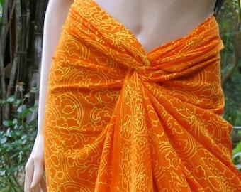 Orange Sarong, Swimsuit cover up, Beach Sarong, Pareo