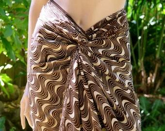 Swimsuit cover up, Brown Batik Sarong, Beach Sarong, Pareo