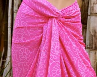 Pink Sarong, Swimsuit cover up, Beach Sarong, Pareo