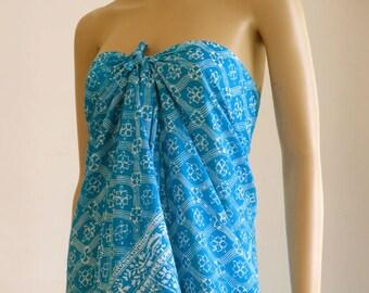 Blue Sarong, Swimsuit cover up, Beach Sarong, Pareo