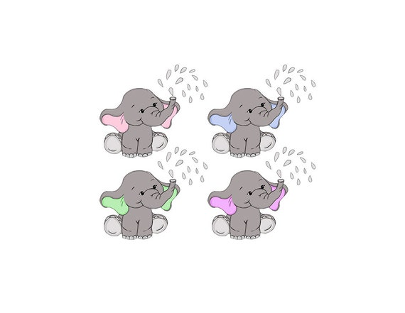 Baby Elephant Clip Art Nursery / Baby Shower Art Pink or ...