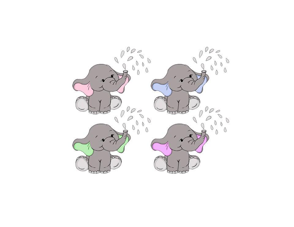 Baby Elephant Clip Art Nursery / Baby Shower Art Pink or ...