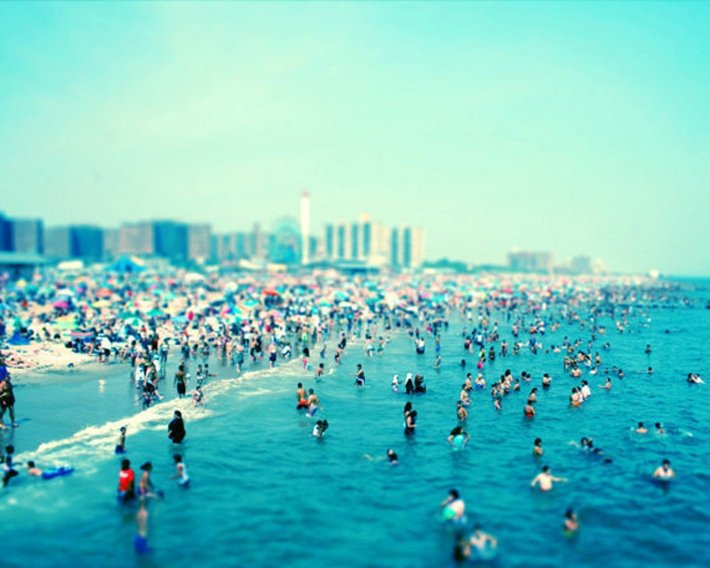 Beach Crowd Art Print  Coney Island Tilt Shift Blue Aqua image 0