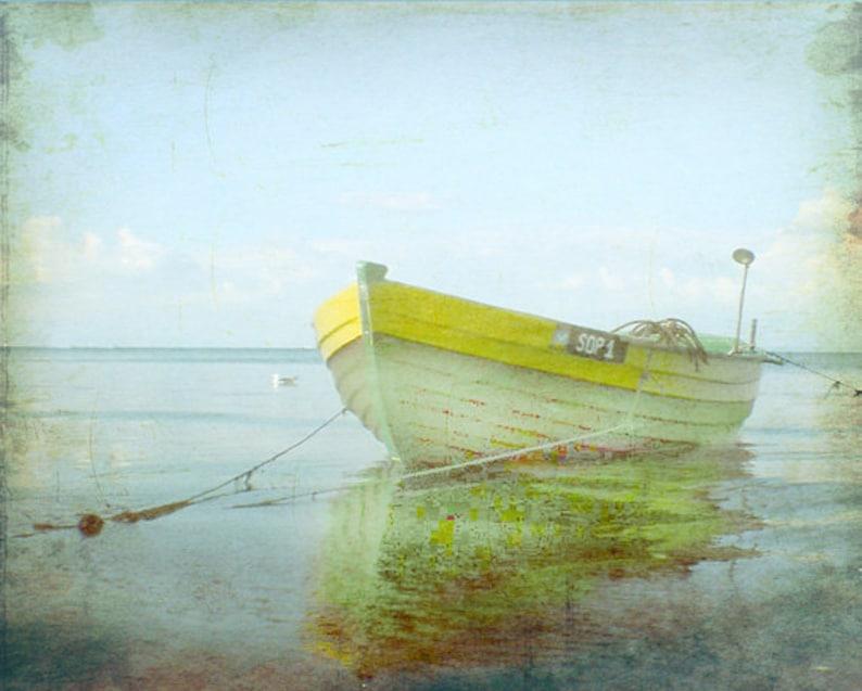 Vintage Yellow Boat Beach Print  Home Decor Wall Art Nautical image 0