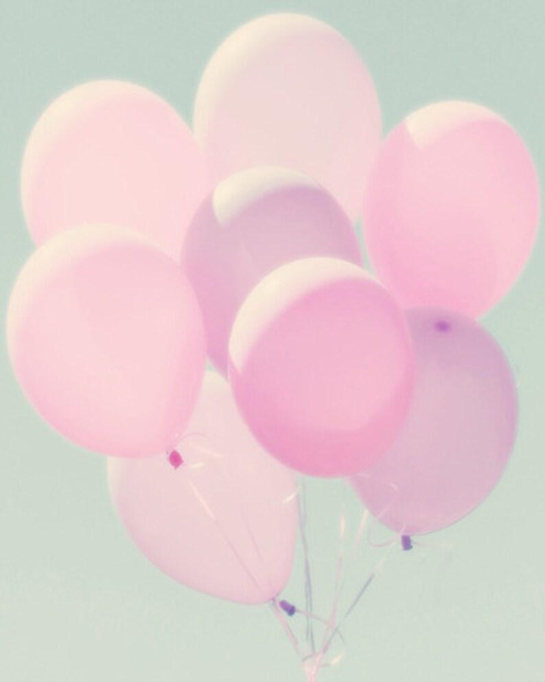 Pink Balloons Print  Girls Room Decor Nursery Wall Art Purple image 0