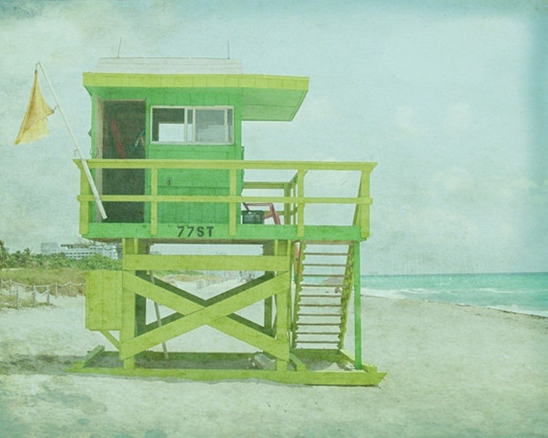Lifeguard Beach Art Print  Green Aqua Pastel VIntage Beach image 0