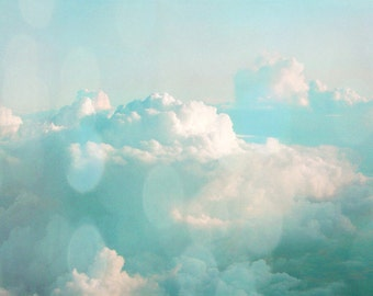 Cloud Sky Art Print - Blue Aqua White Bokeh Soft Home Decor Wall Art Photograph