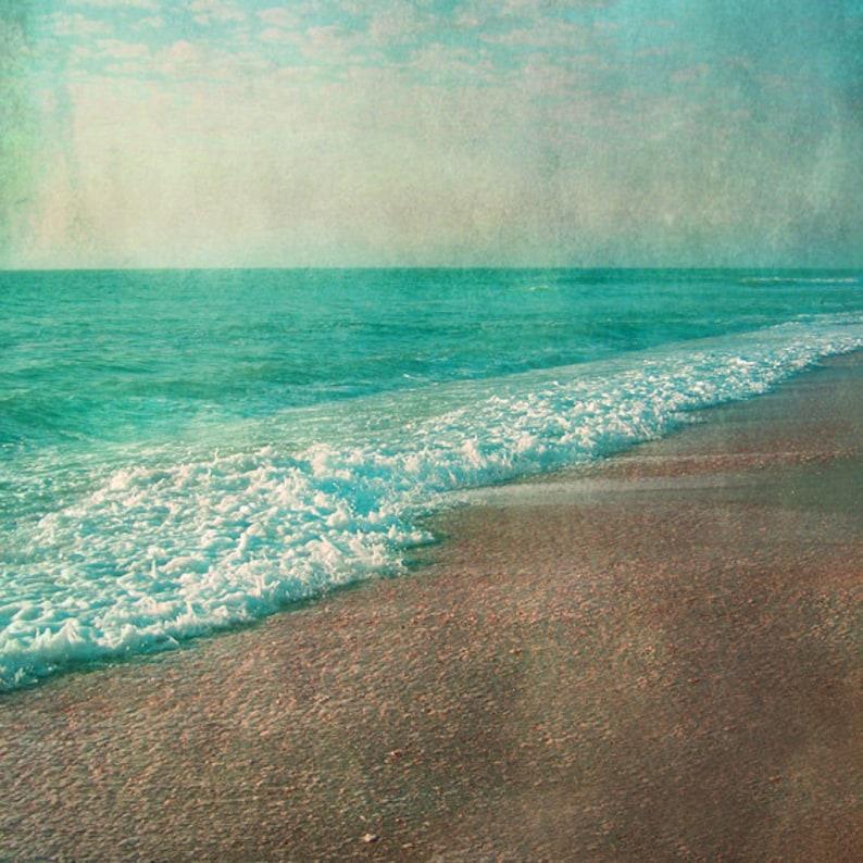 Vintage Beach Art Print  Aqua Tan Beach House Wall Art image 0