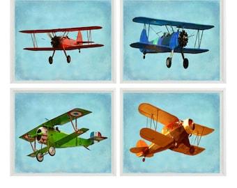 Vintage Airplane Art, Baby Boy Nursery Wall Art , Big Boy Room, Vintage Art, Biplane Art, Plane Print, Playroom Home Decor, Photograph