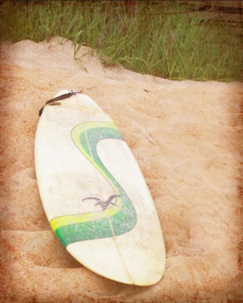 Retro Surf Beach Art Print  Surfboard White Sand Surfing image 0