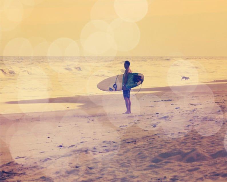 Surfing Bokeh Art Print  Yellow Pink Surf Beach House Dog image 0