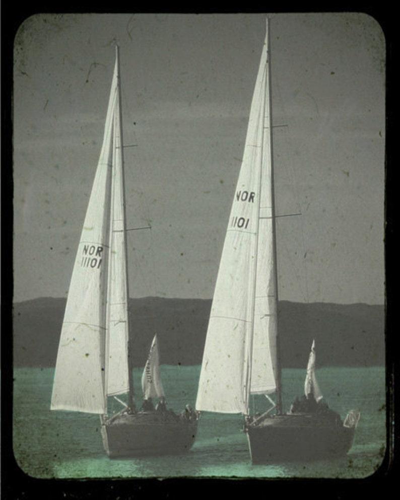 Vintage Sailboats TTV Art Print   Black White Aqua Nautical image 0